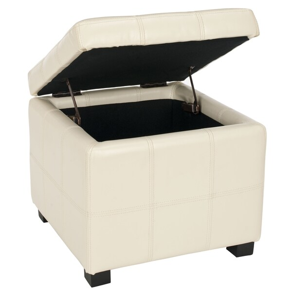 Safavieh Broadway Flat Cream Leather Tufted Storage Ottoman   Free Shipping  Today   Overstock.com   13588518