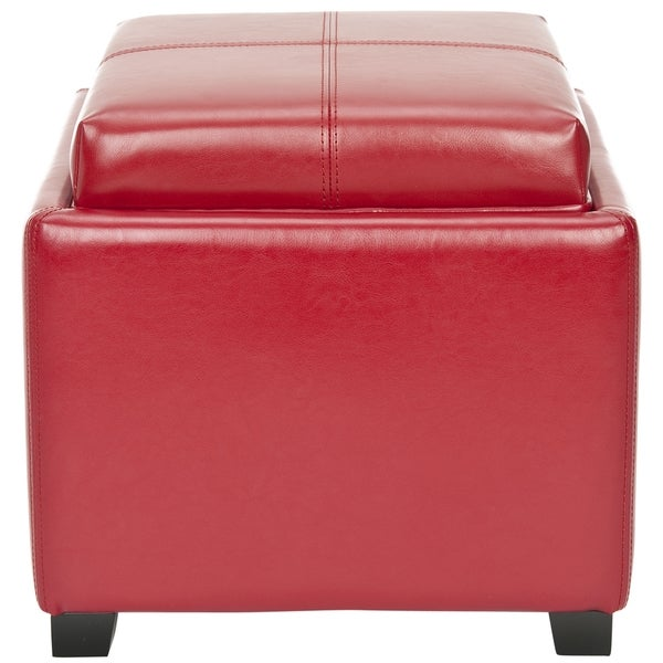 Safavieh Broadway Single Tray Red Leather Storage Ottoman Free