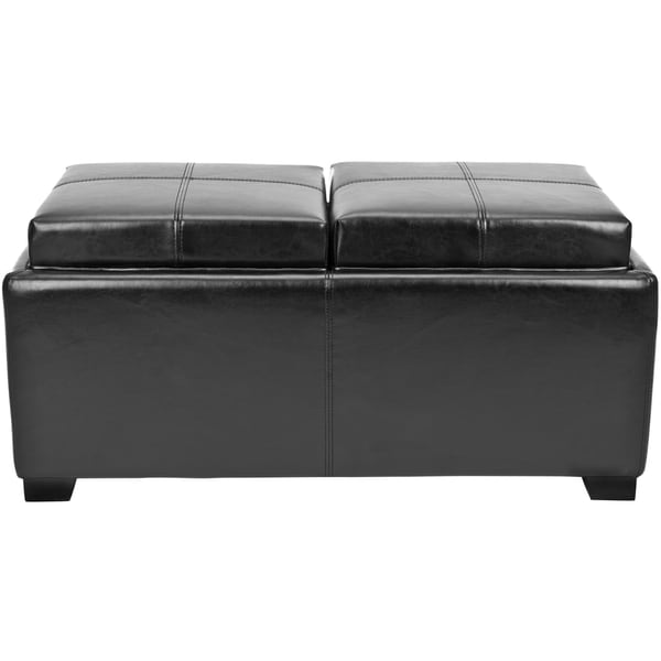 Superb Safavieh Broadway Double Tray Black Leather Storage Ottoman   Free Shipping  Today   Overstock.com   13588523