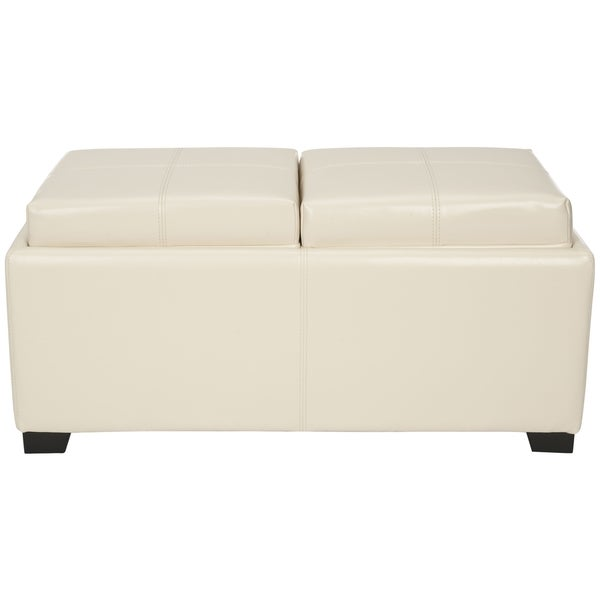 safavieh broadway double tray flat cream leather storage ottoman free shipping today