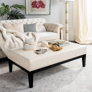 Safavieh Broadway Cream Leather Cocktail Ottoman