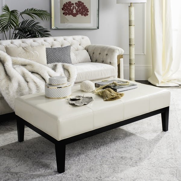 Bon Safavieh Broadway Cream Leather Cocktail Ottoman