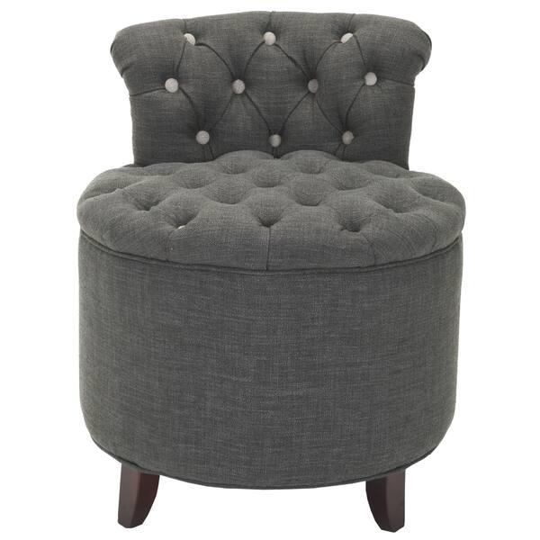 Marvelous Shop Safavieh Toulon Tufted Grey Vanity Stool Free Short Links Chair Design For Home Short Linksinfo