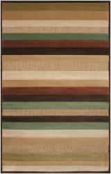 Woven Warm Stripes Natural Indoor/Outdoor Area Rug (7'6 Square)