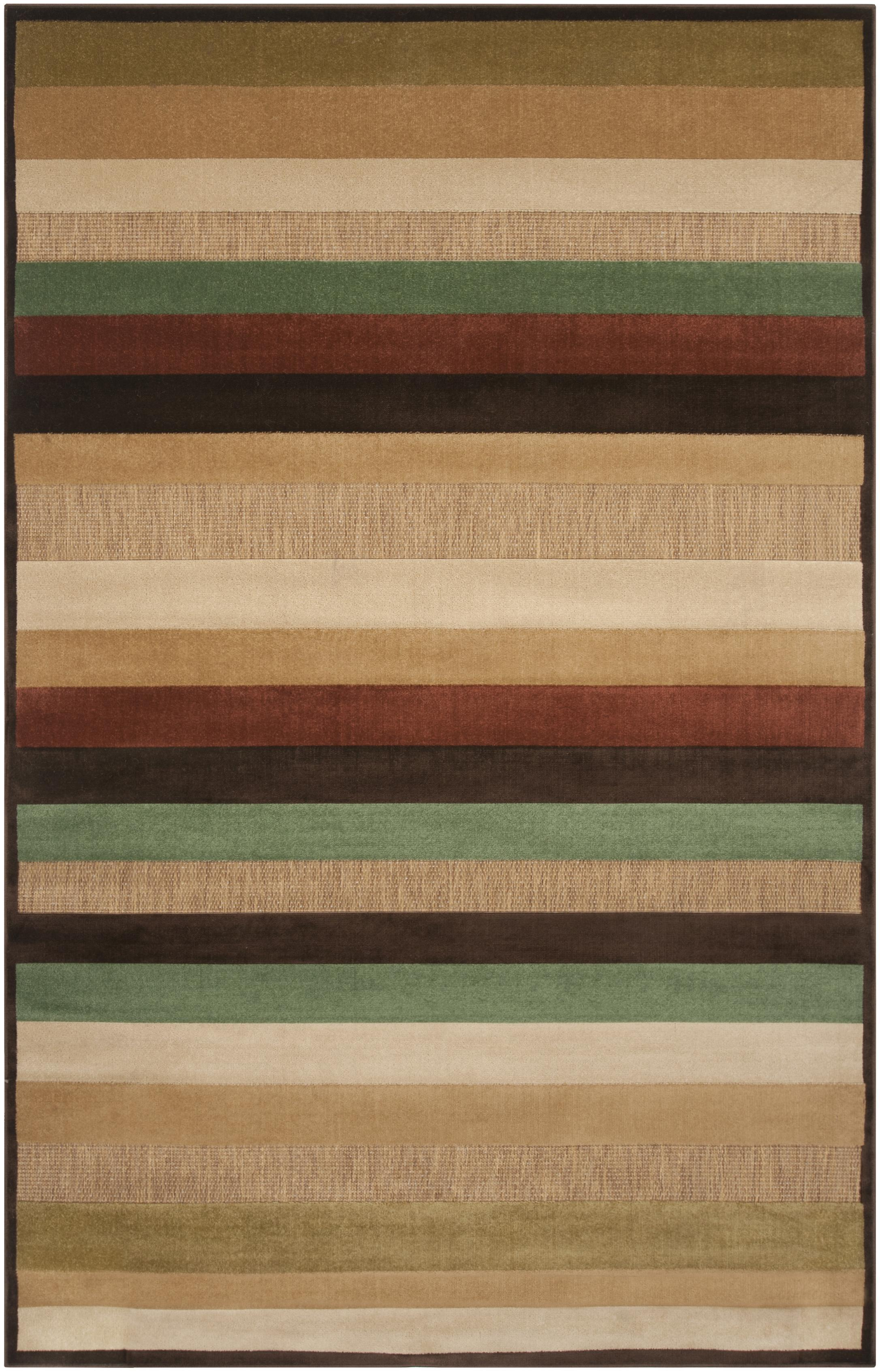 Woven Warm Stripes Natural Indoor Outdoor Rug 5 x 7 6 Free