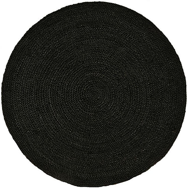 handwoven black braided jute rug 8u0027 round
