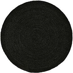 Hand-woven Black Braided Jute Rug (8' Round)