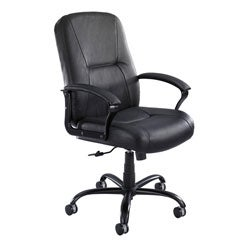 Serenity Big & Tall Black Leather High-back Chair