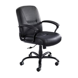 Safco Serenity Big & Tall Black Leather Mid-back Chair