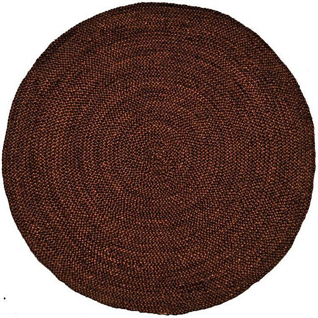 Hand-woven Brown Braided Jute Rug (8' Round)