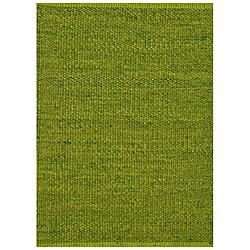 Hand-woven Green Jute Rug (5' x 8')