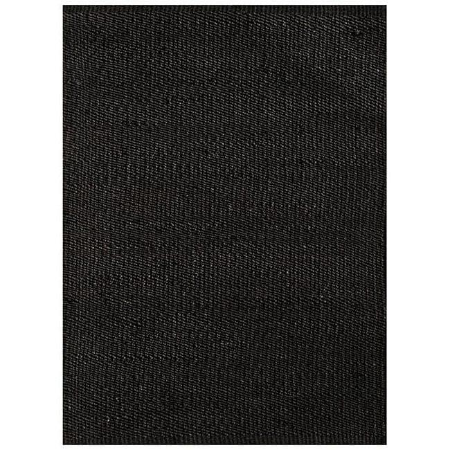 Handwoven Black Jute Area Rug - 5' x 8'