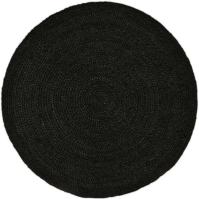 Hand Woven Black Jute Braided Rug