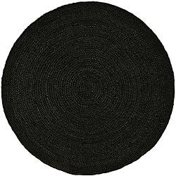 Hand-woven Black Jute Braided Rug (6' Round)
