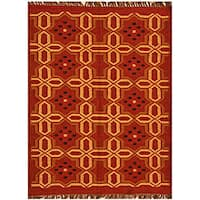 Hand-woven Wool Jute Kilim Rug (5' x 8')