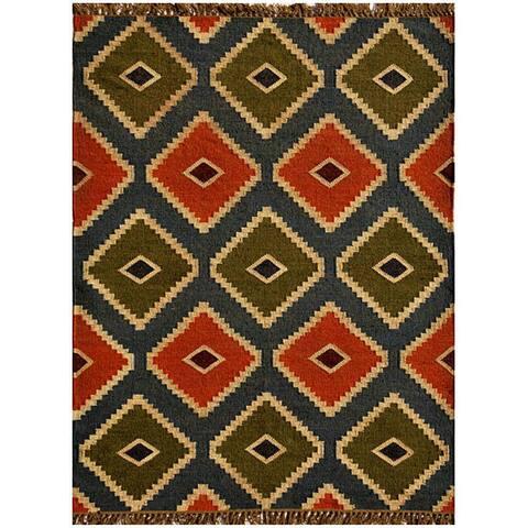 Hand-woven Wool/ Jute Kilim Rug (6' x 9') - 6' x 9'