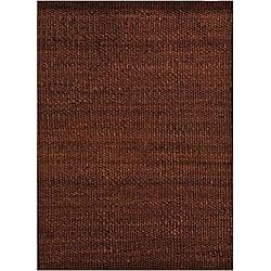 Hand-woven Brown Jute Rug (5' x 8')