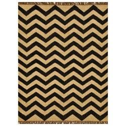 Chevron Hand-woven Kilim Wool Geometric Rug (8' x 11') - 8' x 11' - Thumbnail 0