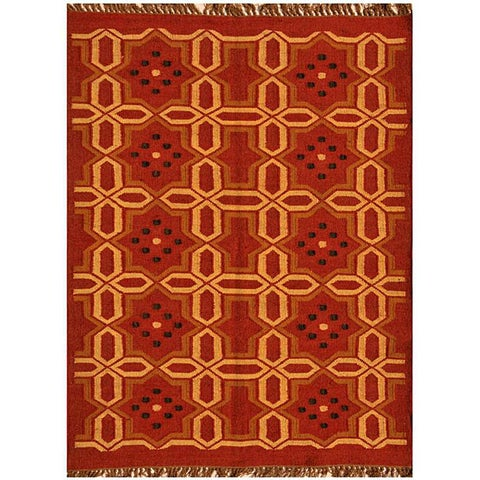 Hand-Woven Kilim Transitional Wool Rug (6' x 9') - 6' x 9'