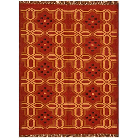 Hand-Woven Kilim Transitional Wool Rug (6' x 9') - 6' x 9'
