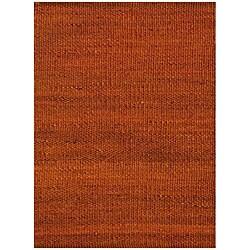 Hand-woven Rust Jute Rug (6' x 9')