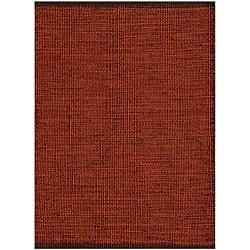 Hand-woven Burgundy Jute Rug - 5'x 8' - Thumbnail 0