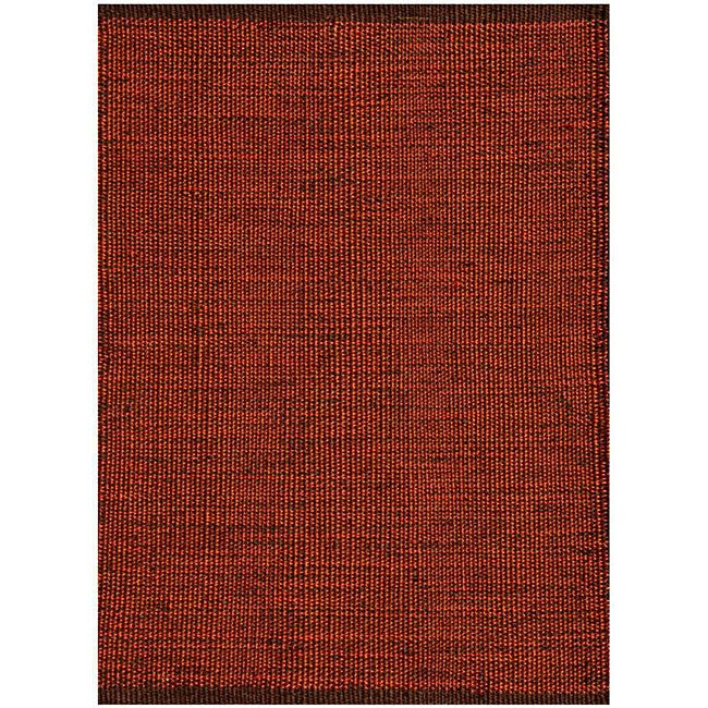 Hand-woven Burgundy Jute Rug (6' x 9')