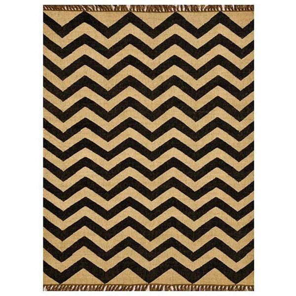 Chevron Hand-Woven Kilim Wool Geometric Rug (5' x 8') - 5' x 8'