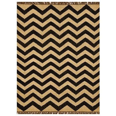 Chevron Hand-woven Kilim Wool Geometric Rug (6' x 9') - 6' x 9'