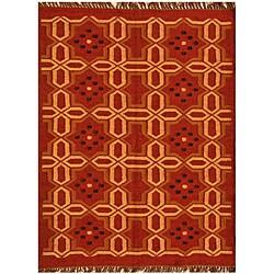 Hand-woven Wool Jute Kilim Rug (4' x 6')