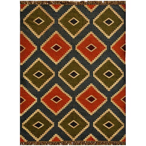 Transitional Handwoven Kilim Wool Rug - 8' x 11'