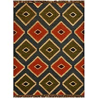Transitional Hand-Woven Kilim Wool Rug - 4' x 6'
