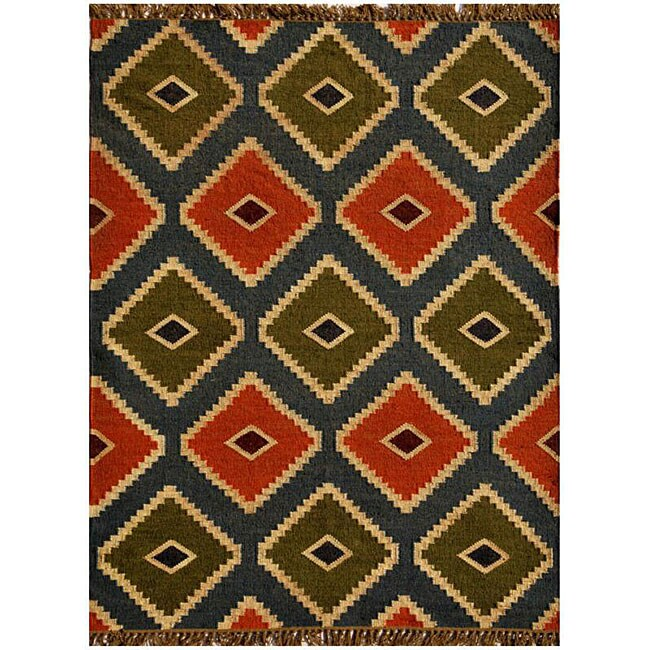 Handwoven Kilim Wool Geometric Rug - 5' x 8'