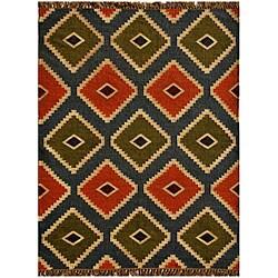 Handwoven Kilim Wool Geometric Rug (5' x 8')