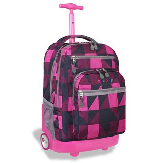 J World Sundace Pink Block Rolling 15-inch Laptop Backpack