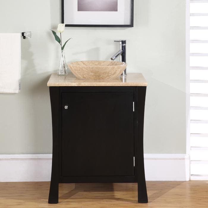 Stone Bathroom Vanity : ... Modern Travertine Stone 26-inch Single-sink Cabinet Bathroom Vanity
