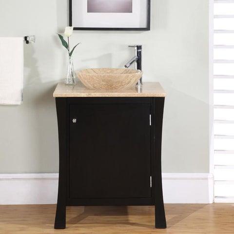 Silkroad Exclusive Modern Travertine Stone 26-inch Single-sink Cabinet Bathroom Vanity