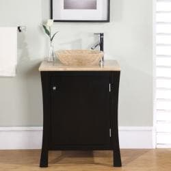 Silkroad Exclusive Modern Travertine Stone 26-inch Single-sink Cabinet Bathroom  Vanity