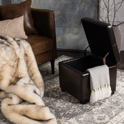Safavieh Broadway Brown Leather Storage Ottoman