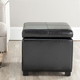 Delightful Safavieh Broadway Black Leather Storage Ottoman