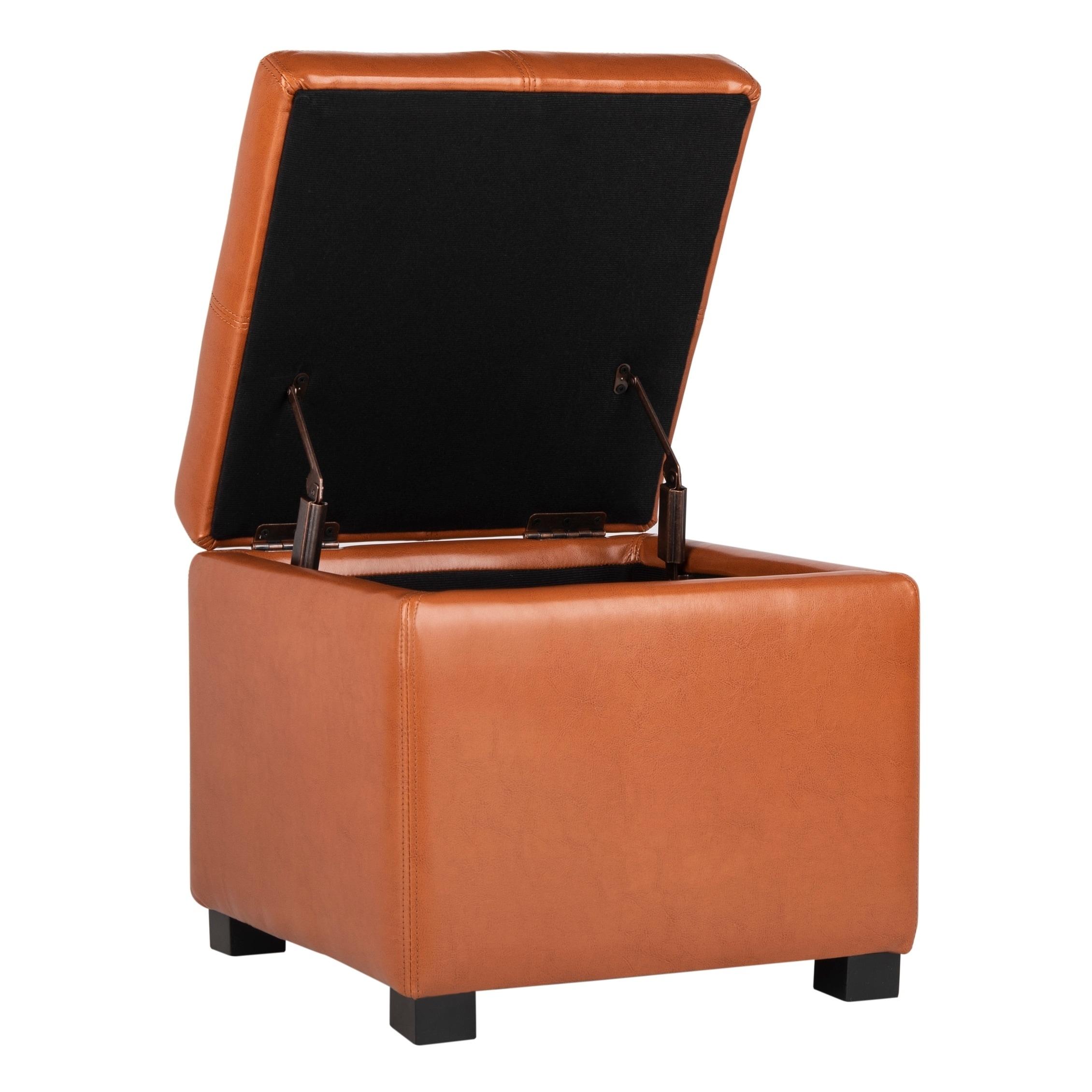 Strange Safavieh Broadway Saddle Leather Storage Ottoman Squirreltailoven Fun Painted Chair Ideas Images Squirreltailovenorg