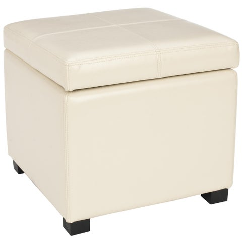 Safavieh Broadway Cream Leather Storage Ottoman
