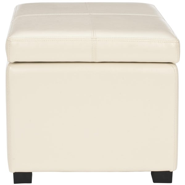 Superb Safavieh Broadway Cream Leather Storage Ottoman   Free Shipping Today    Overstock.com   13588743