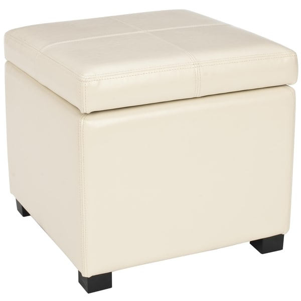 Safavieh Broadway Cream Leather Storage Ottoman Free Shipping