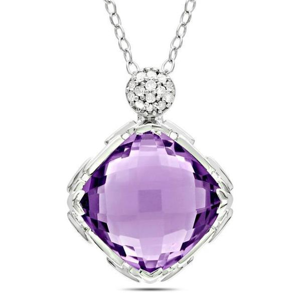 Miadora Sterling Silver Amethyst and Diamond Accent Necklace (G-H, I3)