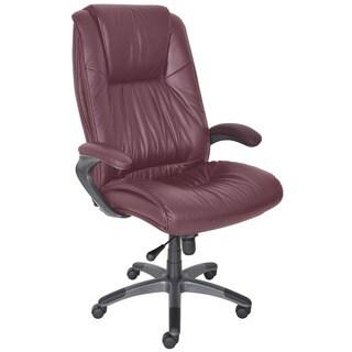 Mayline Burgundy Leather High-Back Swivel/Tilt Executive Office Chair