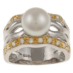 Kabella Kabella Two-tone Silver FW Pearl and Cubic Zirconia Ring (8-9 mm)