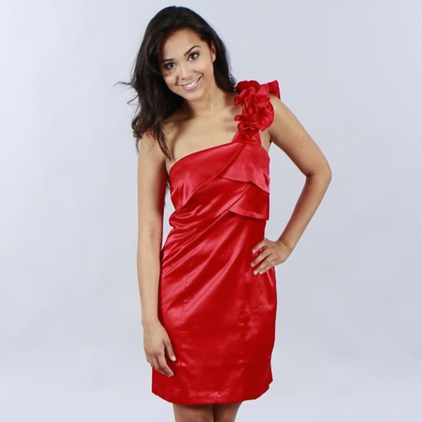 Wishes Juniors Red One-shoulder Dress