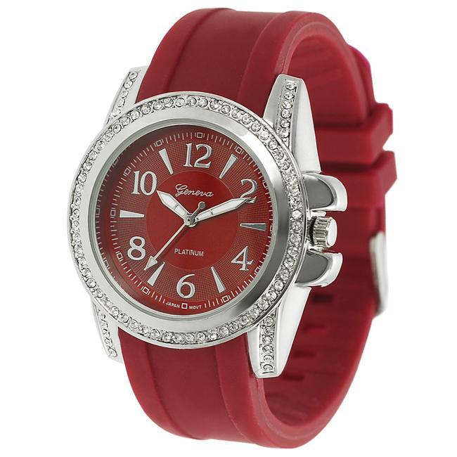 Geneva Platinum Women's Rhinestone-Accented Cherry-Red Silicone Watch