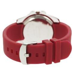 Geneva Platinum Women's Rhinestone-Accented Cherry-Red Silicone Watch - Thumbnail 1